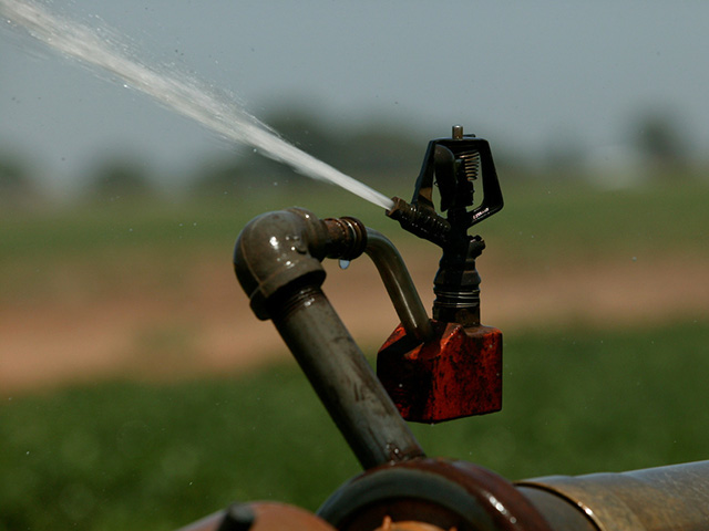 A sprinkler dispensing water onto the grass.